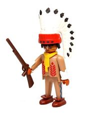Playmobil Figure Western Indian Chief w/ Headdress Rifle Moccasins 3395