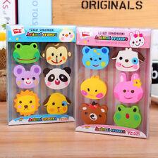 1 Box Kawaii Stationery Match 6 Pcs Set Rubber Zoo Animal Pencil Eraser Erase