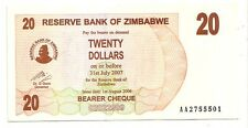 Zimbabwe 20 dollars 2006 bearer cheque   FDS  UNC    pick 40    lotto 3606