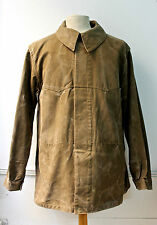 VTG French 1940s Brown train driver Work jacket Chore faded Duck hunting rrl