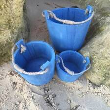 Set of 3 Nautical Buckets with Rope Handles Seaside Coastal Marine Home Decor
