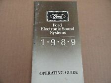1989 Ford Electronic Sound Systems Radio Stereo Owners Manual SUPPLEMENT