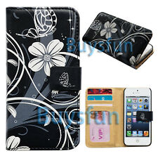 Flower Style Black Card Slot Wallet Leaher Cover Case For Apple iPhone 5 5G