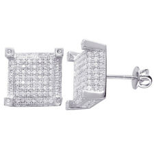 925 Sterling Silver Micro Pave Cubic Zirconia Screw back Stud Earrings 13mmx13mm