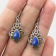 Vtg 925 Sterling Silver Real Blue Lapis Lazuli Gemstone Dangling Earrings