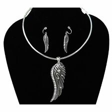 Burnished Silver & Crystal Chunky Angel Wing Necklace Earring Set