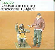 Czech Master 1/48 US Fighter pilot sitting in aircraft and mechanic # F48022