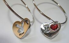 "Genuine New Playboy Hoop Heart Charms Earrings. Bunny & ""I Love"". 100% Authentic"