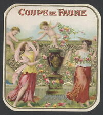 LA5695 OUTER CIGARBOX LABEL COUPE DE FAUNE , WOMEN AND CHERUPS EMBOSSED