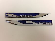 2pcs Blu JAGUAR METAL SIDE FENDER V EMBLEM BADGE ADESIVO PER JAGUAR 150mm