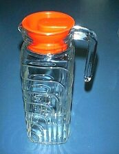 LILAC Clear Glass Refrigerator Pitcher with Spout & Hook Handle - RED Lid - NEW