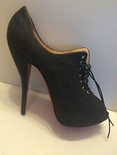 Christian Louboutin Lady Derby 41.5 Gray Shoes 10 10.5 Heels 120cm