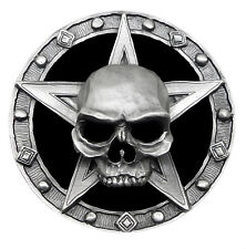 Skull Belt Buckle Repent Totenkopf Pentagram Full 3D Heavy Gothic Official Pagan