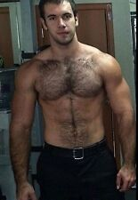 Shirtless Male Muscular Hairy Chest Abs Beefcake Beefy Dude PHOTO 4X6 C576