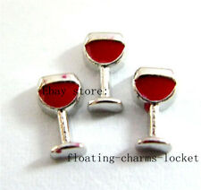 10pcs Wine Glass  Floating charms For Memory Glass Locket free shipping FC600
