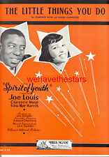 "SPIRIT OF YOUTH Sheet Music ""The Little Things You Do"" Joe Louis BOXING CHAMPION"