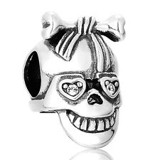Fancy Silver Skull Charm Sparkling Eyes. GIFT PACKING INCLUDED
