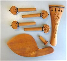 Hand Carved Boxwood 4/4 Violin Parts, Pegs/Chinrest/Tailpiece/Endpin, Violinist