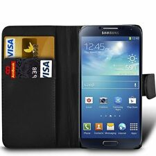 Wallet BLACK Leather Flip Case Cover Pouch Saver For Samsung Galaxy S4 GT-i9505
