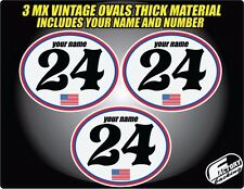 Vintage mx Custom Pre Printed Number plate Backgrounds Ovals USA SERIES