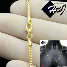 "24""MEN 925 STERLING SILVER 2.5MM GOLD FRANCO BOX CURB LINK CHAIN NECKLACE*SN6"