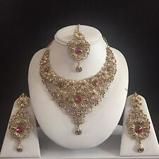 MAROON GOLD INDIAN KUNDAN COSTUME JEWELLERY NECKLACE EARRING CRYSTAL SET BRIDAL