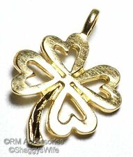 Four Leaf Clover Charm Luck Pendant EP 24k Gold Plated Irish Lifetime Guarantee