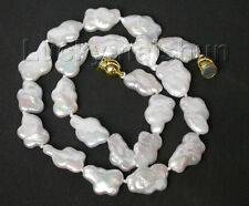 "Genuine 17"" 18mm white Reborn keshi pearls necklace filled gold clasp j8793"
