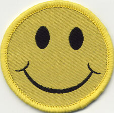 Smiley Face Woven Badge Patch 50mm Diameter