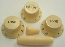 Fender Strat Replacement Knob Set 1 Vol 2 Tone Trem & Switch Tips Cream