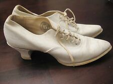 RARE KEDS 1920s Antique White Canvas Vintage Lace Up Shoes Ladies 7-7.5