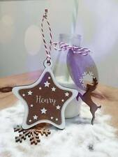 Personalised Christmas Star Decoration Bauble Tree Festive Gift Present Family