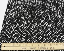 """Polyester Crepe: Lightweight, White Dots on Black, 45"""" w, 3 yd. Piece"""