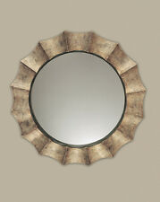 """NEW 41"""" ANTIQUED BURNISHED SILVER WAVY ROUND WALL MIRROR DECOR BLACK INNER LINER"""
