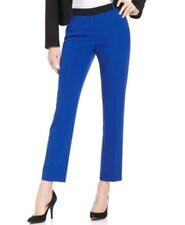 Calvin Klein Pants Sz 8 Solid Atlantis Blue Black Business Cocktail Dress Pants
