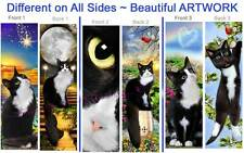 3set-TUXEDO CAT Kitten BOOKMARK ART Black White Felix Bicolor Book Card Figurine
