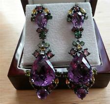 HUGE BIG AMETHYST GREEN GARNET SAPPHIRE 925 SILVER DESIGNER LONG DROP EARRINGS