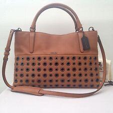 COACH Soft Borough Grommets Shoulder Bag Tote 32339 Chestnut Tan Leather