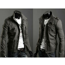 2017 Fashion Mens Zip Button Military Slim Fit Collar Jacket Hooded Coat Outwear