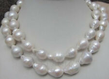 HUGE 12-18MM NATURAL AAA+ SOUTH SEA WHITE BAROQUE PEARL NECKLACE 35 INCHES