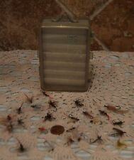 NICE FLY FISHING FLY BOX AND A COUPLE DOZEN FLIES, MOST HAND TIED~ESTATE FIND!