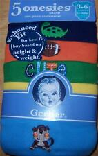 Gerber 5pk Short Sleeve Boy's Solid Onesies, Baby Shower, 3-6 Months