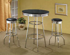50's Retro Black Bar Table and Swivel Bar Stool Set by Coaster 2405-2408