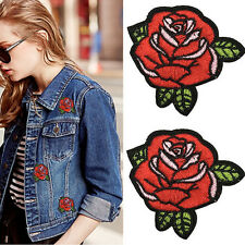 2PCS Red Rose Flower Embroidery Applique Cloth DIY Sewing & Iron on Patch Badge
