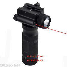 Rilfe Bipod Vertical Foregrip Strobe CREE Led Flashlight Red Laser Sight 3in1 *