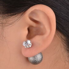 Unique Double Sided Crystal Acrylic Faux Pearl Ball Stud Earrings Plug Pin