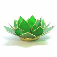 Green with Gold Trim Lotus Flower 4th Chakra Tea Light Candle Holder & Candle