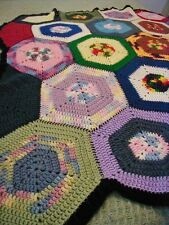 Hand Crochet Afghan Kaleidoscope Pattern Throw Hexagon Block Multi Colored Soft