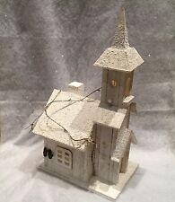 Bois blanc neige église scène lumineuse décoration de Noël Chic Vintage LED