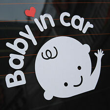 """Baby In Car"" Waving Baby on Board Safety Sign Cute Car Decal / Vinyl Sticker HQ"